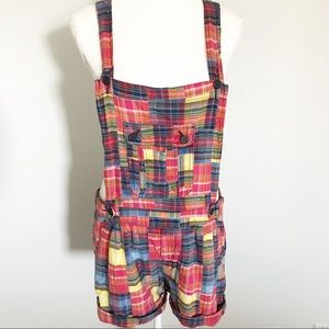 Soundgirl colorful plaid overalls shorts